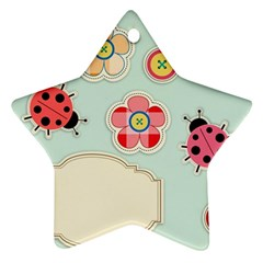 Buttons & Ladybugs Cute Star Ornament (two Sides) by Simbadda