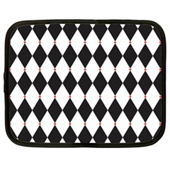 Plaid Triangle Line Wave Chevron Black White Red Beauty Argyle Netbook Case (xl)  by Alisyart