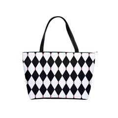 Plaid Triangle Line Wave Chevron Black White Red Beauty Argyle Shoulder Handbags by Alisyart