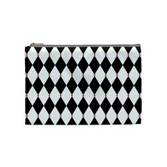Plaid Triangle Line Wave Chevron Black White Red Beauty Argyle Cosmetic Bag (medium)