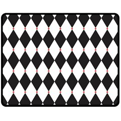 Plaid Triangle Line Wave Chevron Black White Red Beauty Argyle Fleece Blanket (medium)  by Alisyart