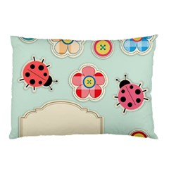 Buttons & Ladybugs Cute Pillow Case by Simbadda
