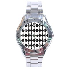 Plaid Triangle Line Wave Chevron Black White Red Beauty Argyle Stainless Steel Analogue Watch by Alisyart