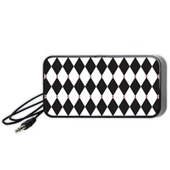 Plaid Triangle Line Wave Chevron Black White Red Beauty Argyle Portable Speaker (black) by Alisyart
