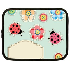Buttons & Ladybugs Cute Netbook Case (xxl)  by Simbadda