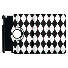 Plaid Triangle Line Wave Chevron Black White Red Beauty Argyle Apple Ipad 2 Flip 360 Case by Alisyart
