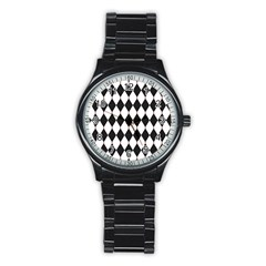 Plaid Triangle Line Wave Chevron Black White Red Beauty Argyle Stainless Steel Round Watch by Alisyart