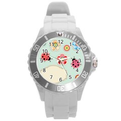 Buttons & Ladybugs Cute Round Plastic Sport Watch (l) by Simbadda