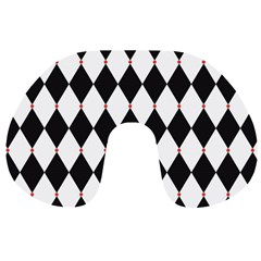 Plaid Triangle Line Wave Chevron Black White Red Beauty Argyle Travel Neck Pillows