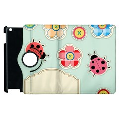 Buttons & Ladybugs Cute Apple Ipad 3/4 Flip 360 Case by Simbadda