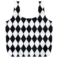 Plaid Triangle Line Wave Chevron Black White Red Beauty Argyle Full Print Recycle Bags (l)