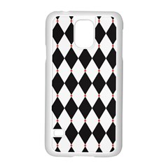 Plaid Triangle Line Wave Chevron Black White Red Beauty Argyle Samsung Galaxy S5 Case (white)