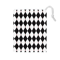 Plaid Triangle Line Wave Chevron Black White Red Beauty Argyle Drawstring Pouches (large)