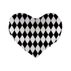 Plaid Triangle Line Wave Chevron Black White Red Beauty Argyle Standard 16  Premium Flano Heart Shape Cushions by Alisyart