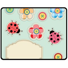 Buttons & Ladybugs Cute Double Sided Fleece Blanket (medium)