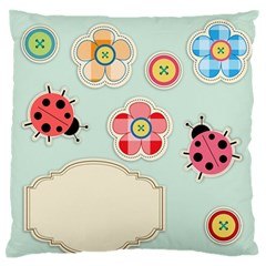 Buttons & Ladybugs Cute Large Flano Cushion Case (two Sides) by Simbadda