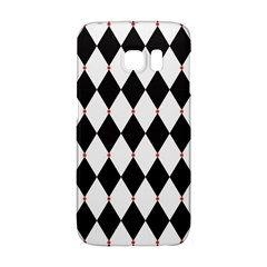Plaid Triangle Line Wave Chevron Black White Red Beauty Argyle Galaxy S6 Edge