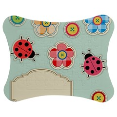 Buttons & Ladybugs Cute Jigsaw Puzzle Photo Stand (bow) by Simbadda