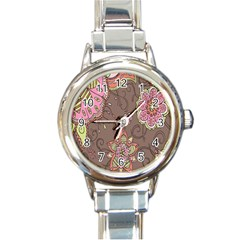 Ice Cream Flower Floral Rose Sunflower Leaf Star Brown Round Italian Charm Watch by Alisyart