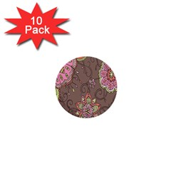 Ice Cream Flower Floral Rose Sunflower Leaf Star Brown 1  Mini Buttons (10 Pack)  by Alisyart