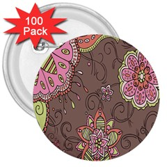 Ice Cream Flower Floral Rose Sunflower Leaf Star Brown 3  Buttons (100 Pack)  by Alisyart