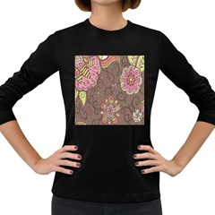Ice Cream Flower Floral Rose Sunflower Leaf Star Brown Women s Long Sleeve Dark T Shirts