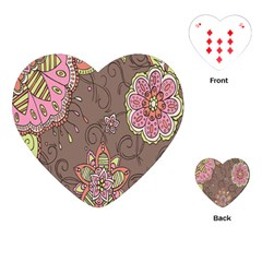 Ice Cream Flower Floral Rose Sunflower Leaf Star Brown Playing Cards (heart)  by Alisyart