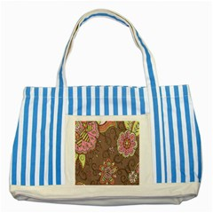 Ice Cream Flower Floral Rose Sunflower Leaf Star Brown Striped Blue Tote Bag by Alisyart