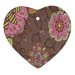 Ice Cream Flower Floral Rose Sunflower Leaf Star Brown Heart Ornament (two Sides) by Alisyart