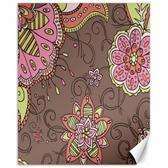 Ice Cream Flower Floral Rose Sunflower Leaf Star Brown Canvas 16  X 20   by Alisyart