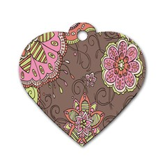 Ice Cream Flower Floral Rose Sunflower Leaf Star Brown Dog Tag Heart (two Sides) by Alisyart