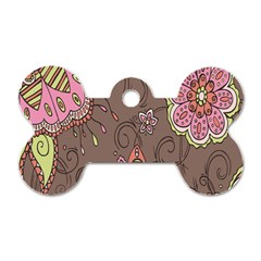 Ice Cream Flower Floral Rose Sunflower Leaf Star Brown Dog Tag Bone (two Sides) by Alisyart