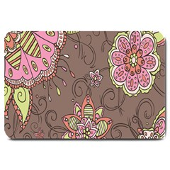 Ice Cream Flower Floral Rose Sunflower Leaf Star Brown Large Doormat  by Alisyart