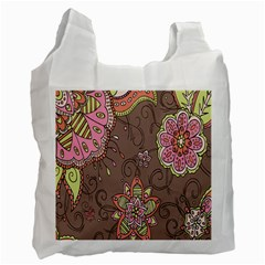 Ice Cream Flower Floral Rose Sunflower Leaf Star Brown Recycle Bag (one Side) by Alisyart