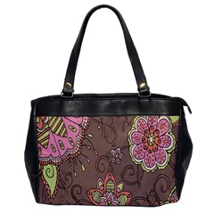 Ice Cream Flower Floral Rose Sunflower Leaf Star Brown Office Handbags by Alisyart