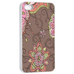 Ice Cream Flower Floral Rose Sunflower Leaf Star Brown Apple Iphone 4/4s Seamless Case (white)