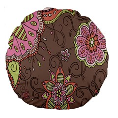 Ice Cream Flower Floral Rose Sunflower Leaf Star Brown Large 18  Premium Round Cushions by Alisyart