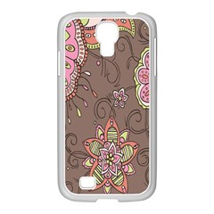 Ice Cream Flower Floral Rose Sunflower Leaf Star Brown Samsung Galaxy S4 I9500/ I9505 Case (white) by Alisyart