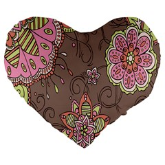 Ice Cream Flower Floral Rose Sunflower Leaf Star Brown Large 19  Premium Flano Heart Shape Cushions by Alisyart