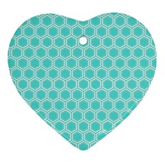 Plaid Circle Blue Wave Ornament (heart) by Alisyart