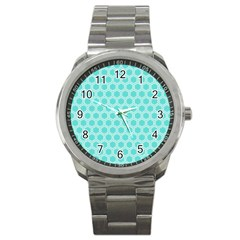 Plaid Circle Blue Wave Sport Metal Watch by Alisyart
