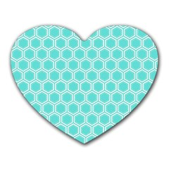 Plaid Circle Blue Wave Heart Mousepads by Alisyart