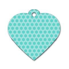 Plaid Circle Blue Wave Dog Tag Heart (two Sides) by Alisyart