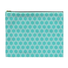 Plaid Circle Blue Wave Cosmetic Bag (xl)