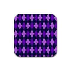 Plaid Triangle Line Wave Chevron Blue Purple Pink Beauty Argyle Rubber Square Coaster (4 Pack)  by Alisyart