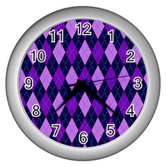 Plaid Triangle Line Wave Chevron Blue Purple Pink Beauty Argyle Wall Clocks (silver)  by Alisyart