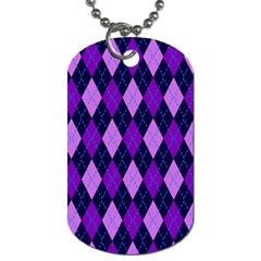 Plaid Triangle Line Wave Chevron Blue Purple Pink Beauty Argyle Dog Tag (two Sides) by Alisyart