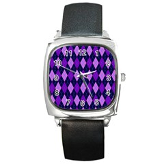 Plaid Triangle Line Wave Chevron Blue Purple Pink Beauty Argyle Square Metal Watch by Alisyart