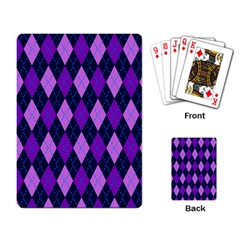 Plaid Triangle Line Wave Chevron Blue Purple Pink Beauty Argyle Playing Card by Alisyart