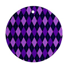 Plaid Triangle Line Wave Chevron Blue Purple Pink Beauty Argyle Round Ornament (two Sides) by Alisyart